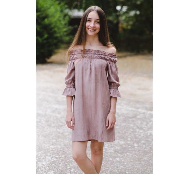 "Vestido ""off the shoulder"" nude envejecido"